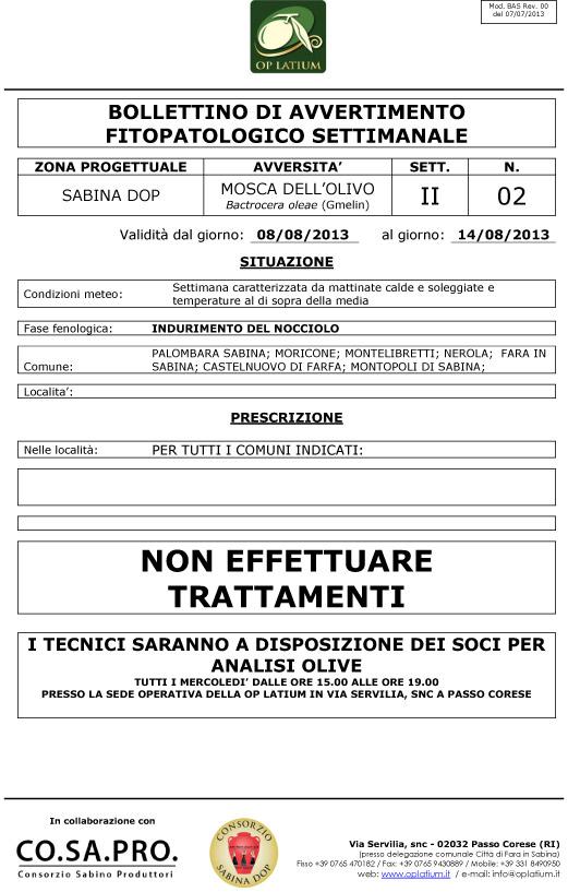 Bollettino di avviso fitopatologico settimanale valido dal 08/08/2013 al 14/08/2013