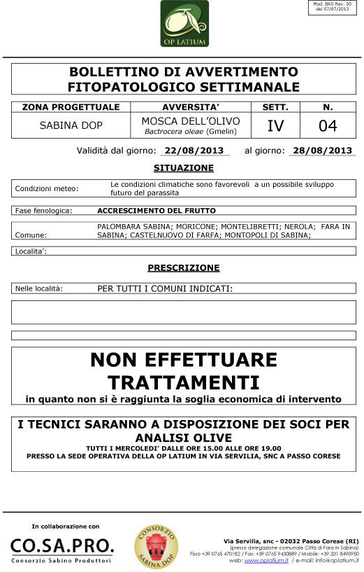 Bollettino di avviso fitopatologico settimanale valido dal giorno 22/08/2013 al giorno 28/08/2013