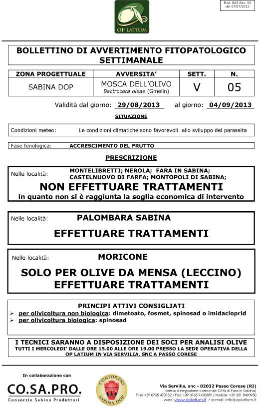 Bollettino di avviso fitopatologico settimanale valido dal giorno 29/08/2013 al giorno 04/09/2013