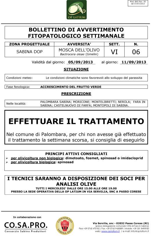 Bollettino di avviso fitopatologico settimanale valido dal giorno 05/09/2013 al giorno 11/09/2013