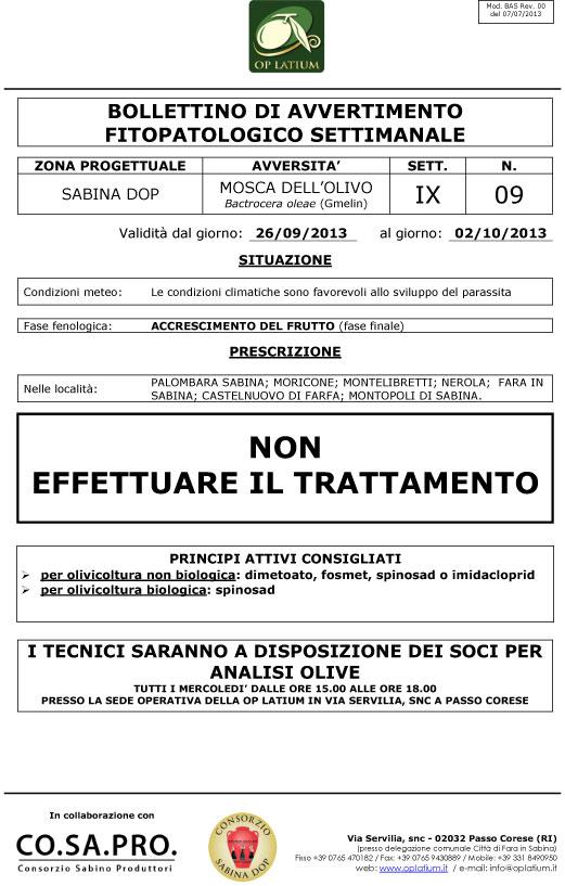 Bollettino di avviso fitopatologico settimanale valido dal giorno 26/09/2013 al giorno 02/10/2013