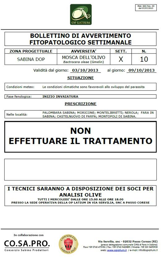 Bollettino di avviso fitopatologico settimanale valido dal giorno 03/10/2013 al giorno 09/10/2013