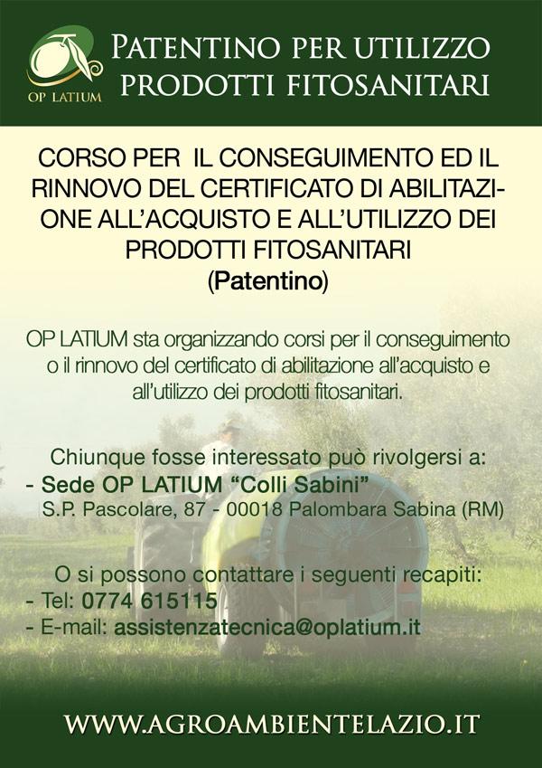 """Corso per il conseguimento o il rinnovo  del """"patentino"""" per l'utilizzo di prodotti fitosanitari"""