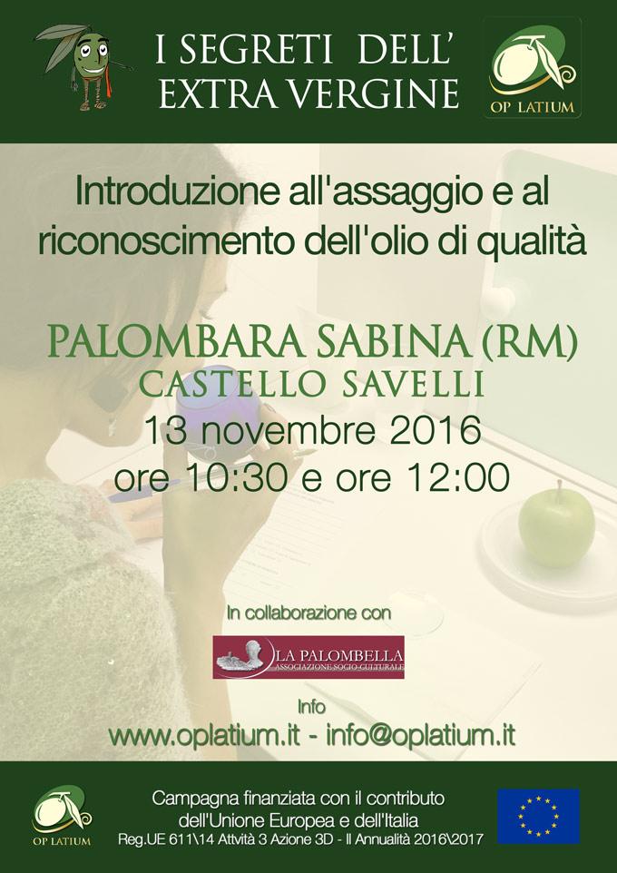 """""""I segreti dell'Extra Vergine"""" introduzione all'assaggio e al riconoscimento dell'olio - Palombara Sabina (Rm) 13 novembre 2016"""