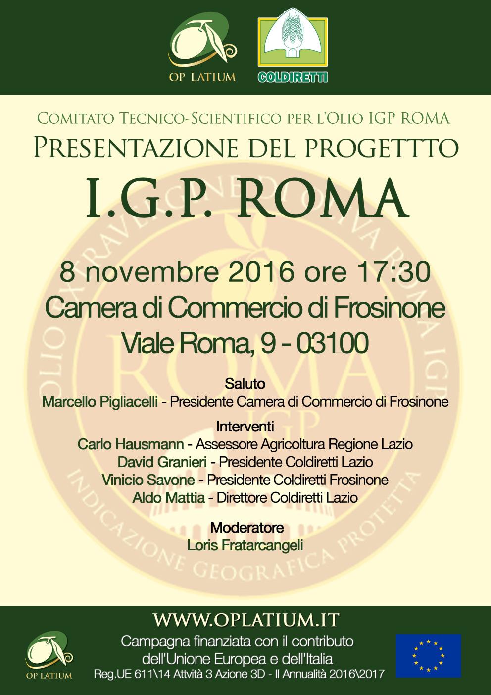 IGP Roma, un marchio per promuovere nel mondo l'olio Extra Vergine di qualità del Lazio. Presentazione del progetto a Frosinone il prossimo 8 novembre