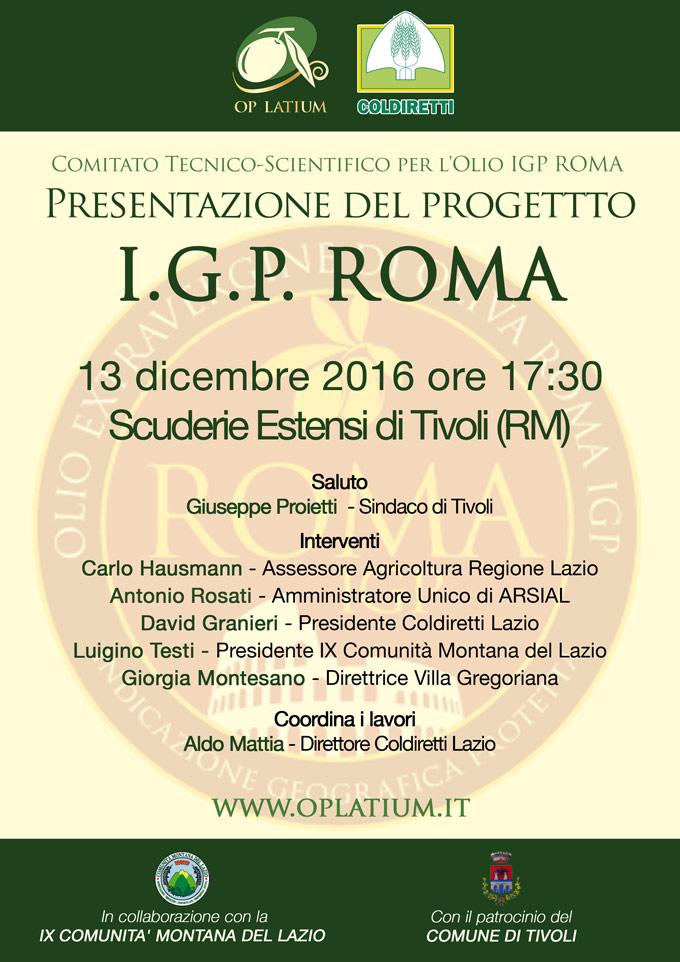 Olio Roma IGP: presentazione del progetto per la valorizzazione dell'olio Extra Vergine di qualità del Lazio. Tivoli (RM) 13 dicembre 2016