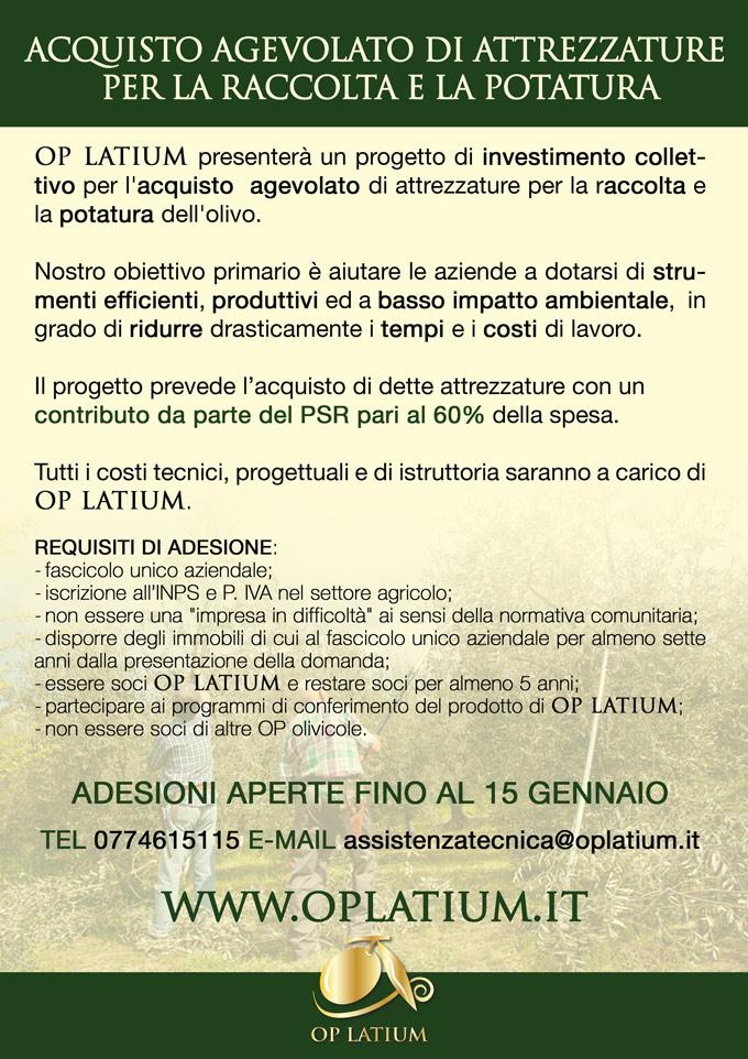 Progetto di investimento collettivo per l'acquisto di attrezzature per la raccolta e la potatura dell'olivo