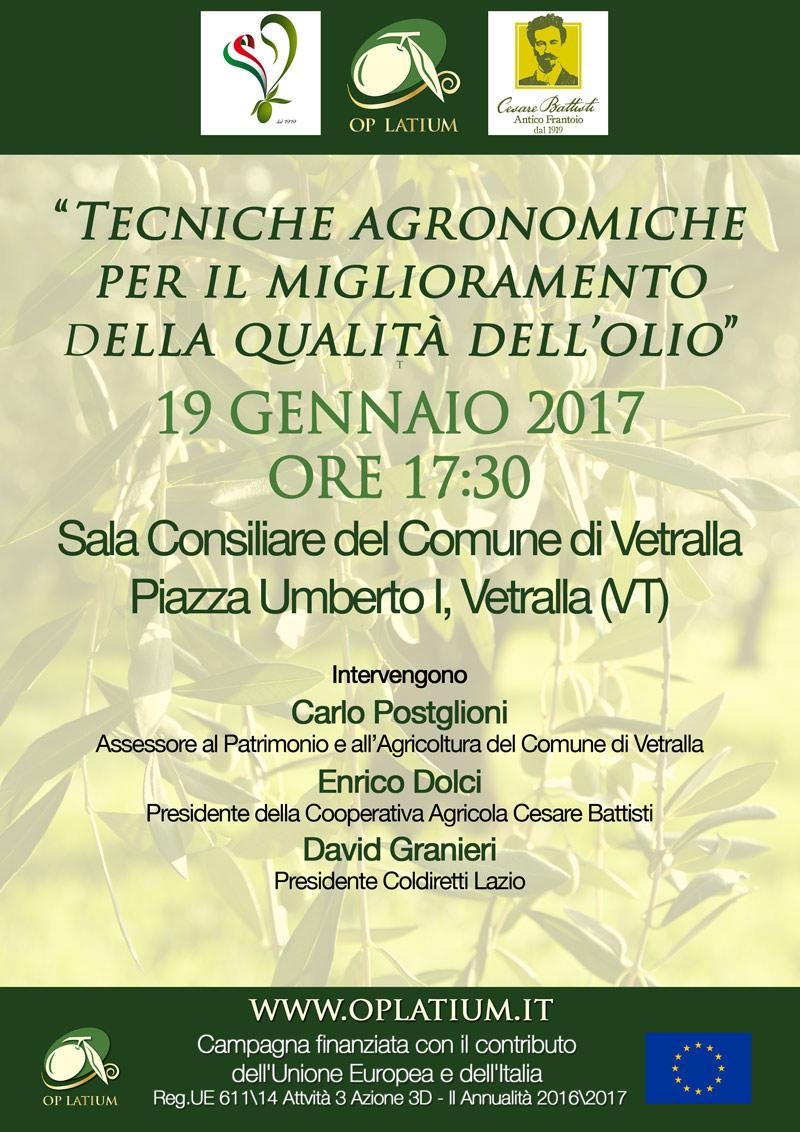 Tecniche agronomiche per il miglioramento della qualità dell'olio - 19 gennaio ore 17:30 a Vetralla (Vt)