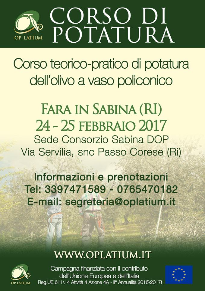 Corso teorico-pratico di potatura dell'olivo. Passo Corese (Ri) 24-25 febbraio 2017
