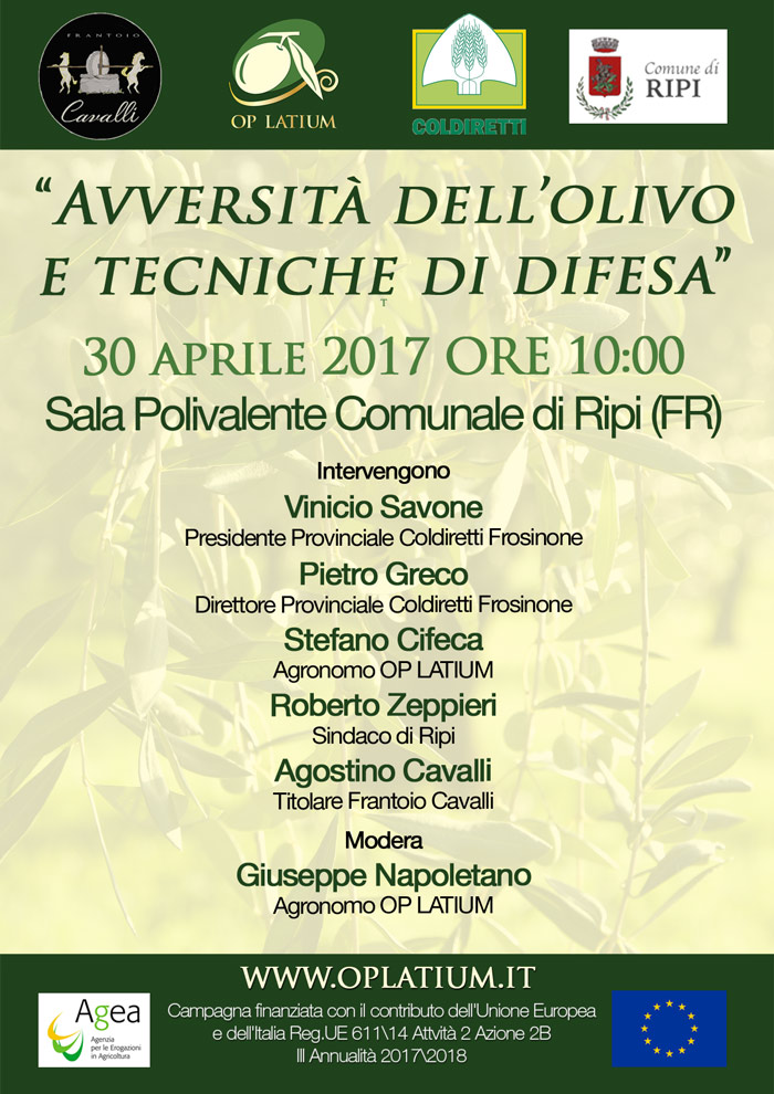 """Olive Tree Diseases and Defense Techniques"" - technical conference in Ripi (FR) on Sunday, April 30, 2017"