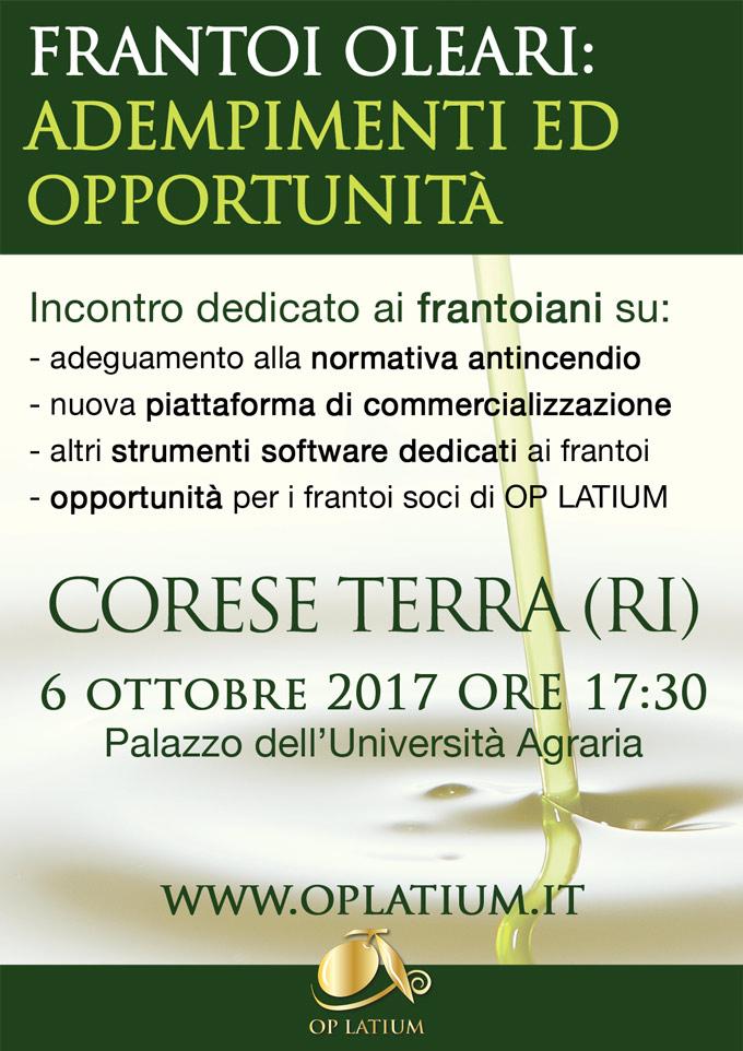 Frantoi oleari: adempimenti ed opportunità - Corese Terra (RI) 6 ottobre 2017