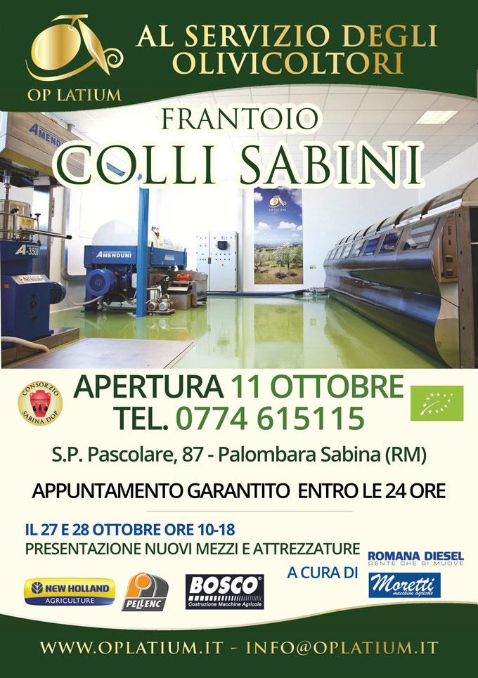 Apertura frantoio Colli Sabini 2017/2018