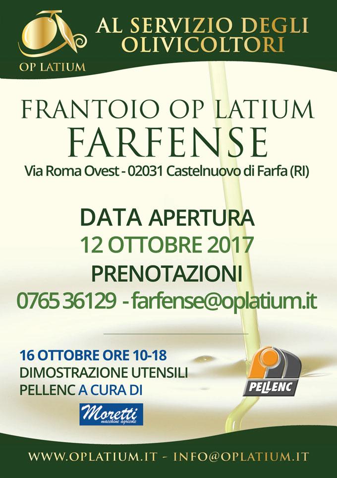 Apertura frantoio Farfense 2017/2018