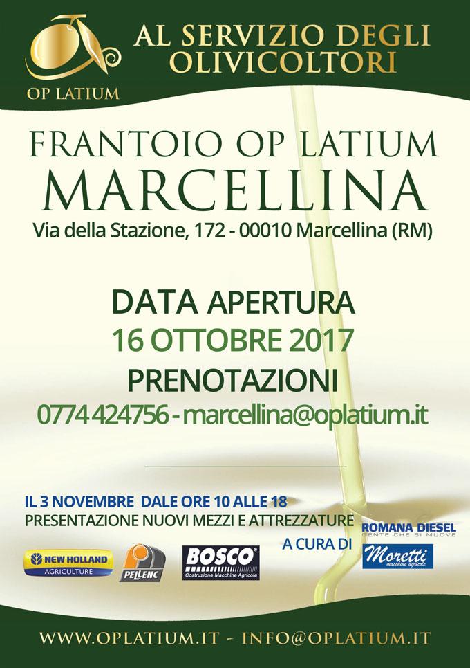 Apertura frantoio Marcellina 2017/2018