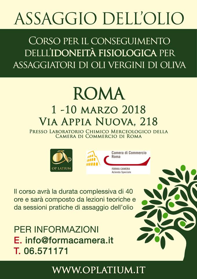 Corso per assaggiatori di oli vergini ed extravergini di oliva. Roma 1-10 marzo 2018