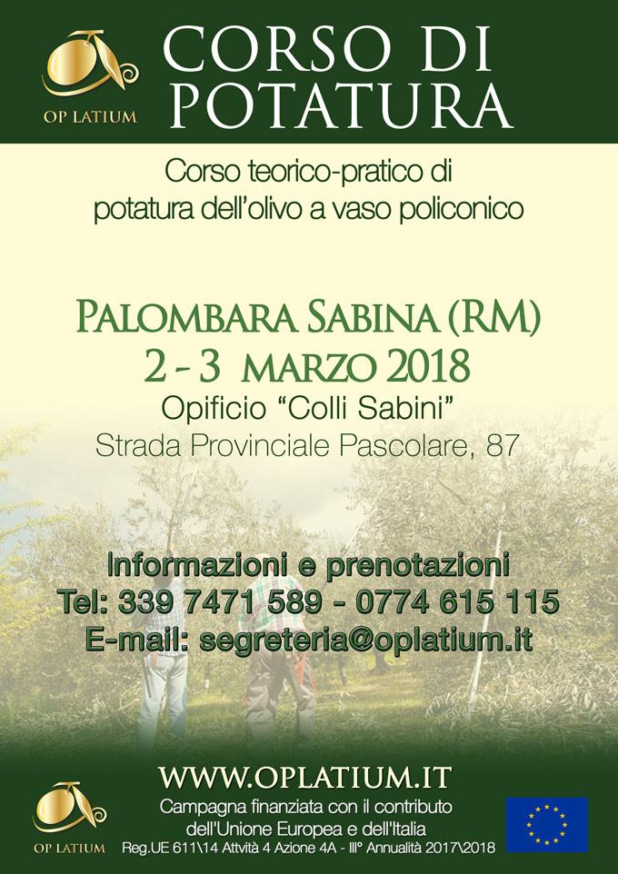 Corso di Potatura dell'Olivo a Palombara Sabina (Roma). II Edizione 2-3 marzo 2018