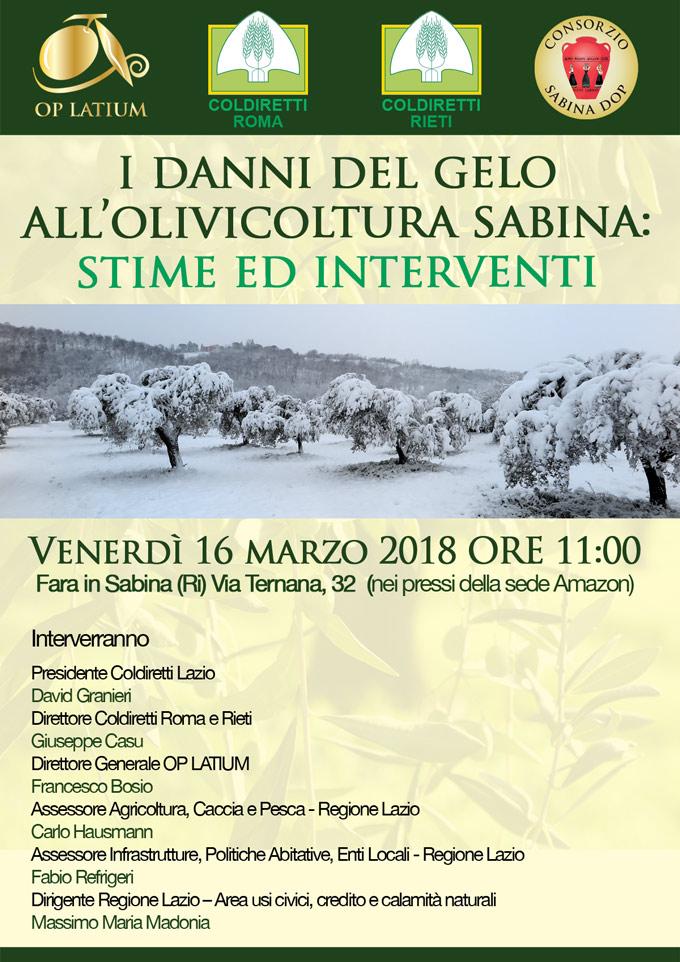 I danni del gelo all'olivicoltura sabina:  stime ed interventi possibili. Venerdì 16 marzo 2018, Fara in Sabina