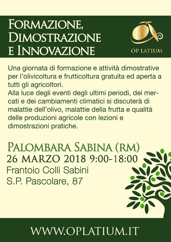 Giornata della Formazione, Dimostrazione e Innovazione. 26 marzo 2018 Palombara Sabina (RM)