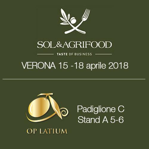 OP LATIUM a SOL & Agrifood 2018 Verona dal 15 al 18 aprile. Rassegna internazionale dell'agroalimentare di qualità