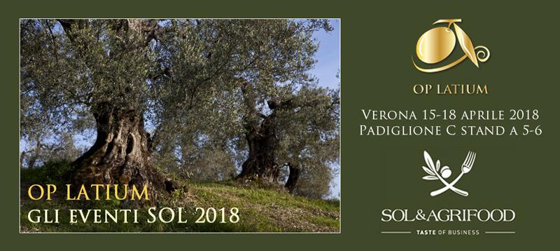 Benvenuti agli eventi OP LATIUM dedicati agli oli extravergini del Lazio al SOL&AGRIFOOD 2018