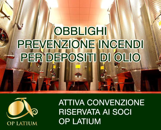Convenzione riservata ai soci OP LATIUM per adempimenti di prevenzione incendi per i depositi di stoccaggio olio