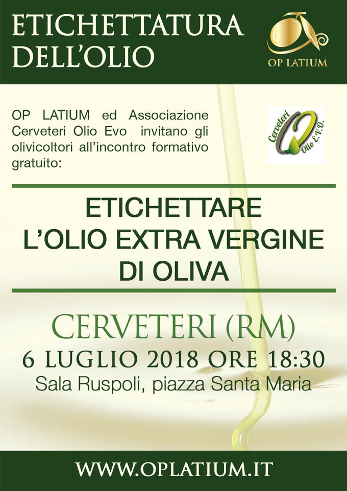 Come etichettare correttamente l'olio: seminario gratuito. Cerveteri 6 luglio 2018