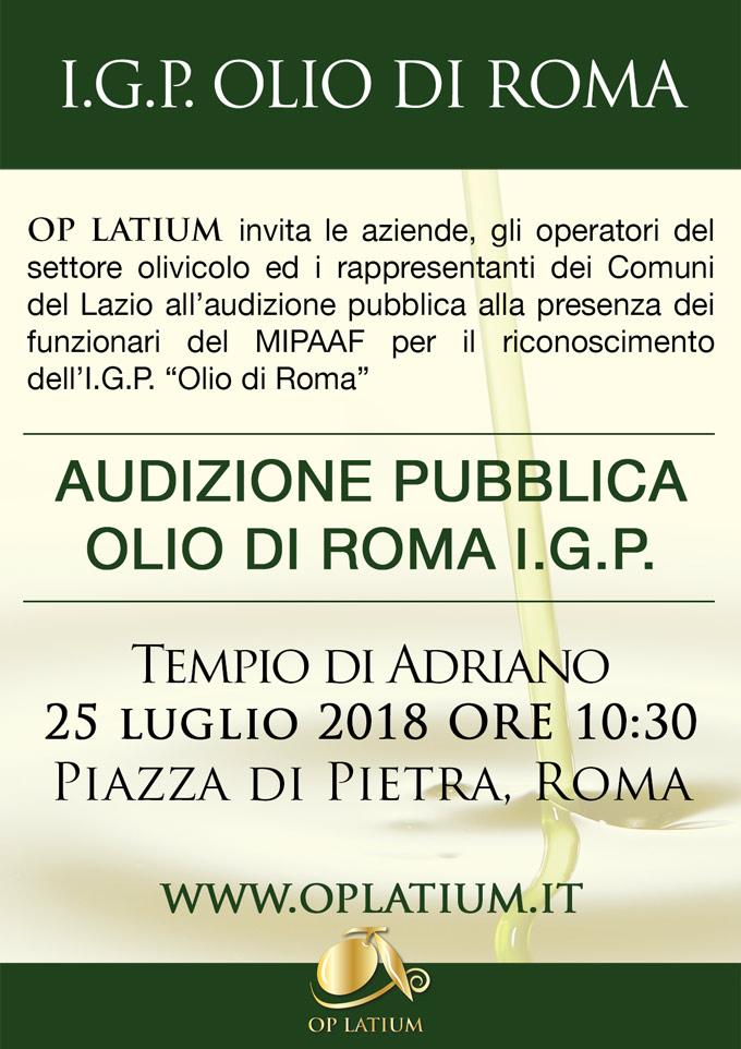 Olio di Roma IGP: audizione pubblica presso il Tempio di Adriano a Roma il 25 luglio 2018