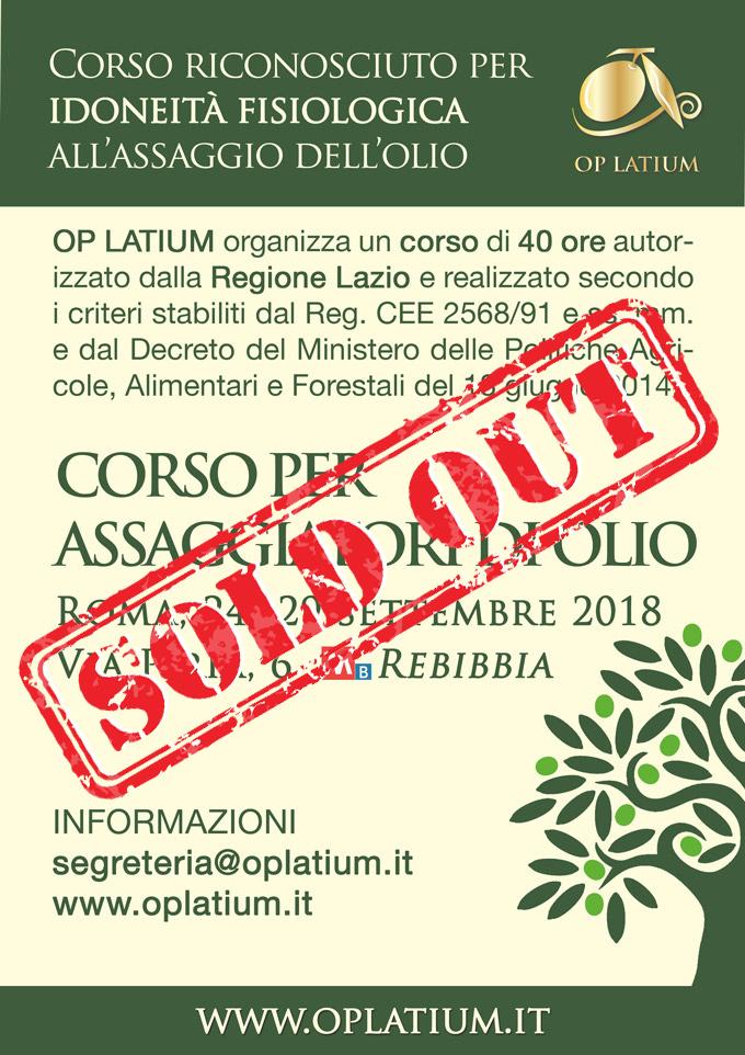 Corso per assaggiatori di olio a Roma. A settembre 2018 il nuovo corso OP LATIUM di idoneità fisiologica riconosciuto