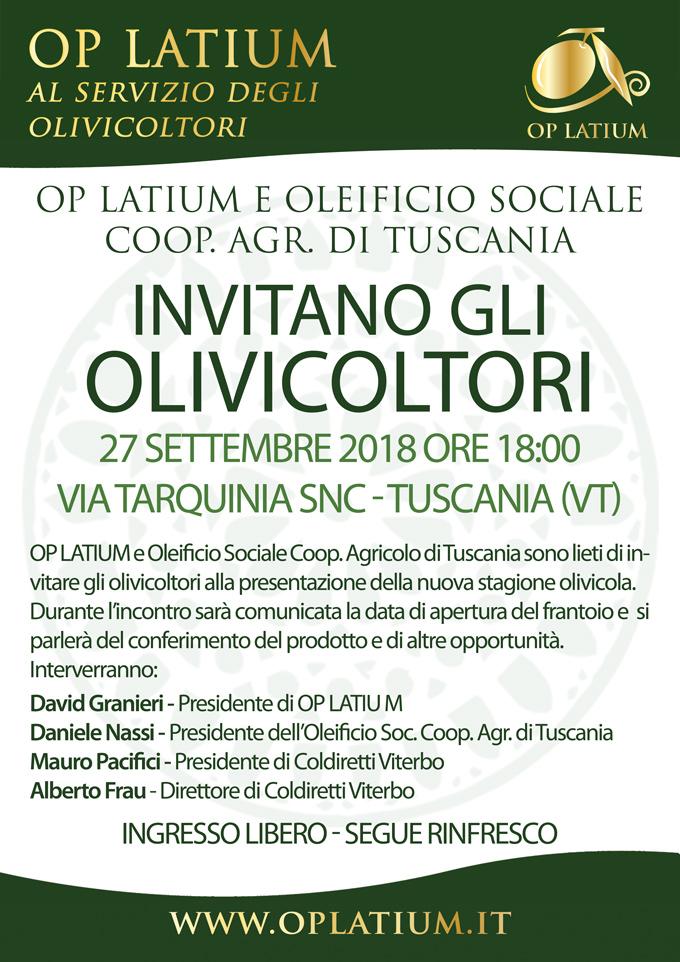 OP LATIUM rafforza la propria presenza sul territorio regionale: nuova gestione per l'Oleificio Sociale Coop. Agricolo di Tuscania