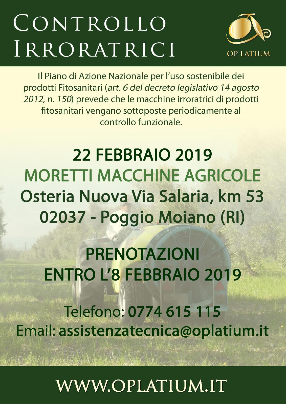 Osteria Nuova (RI) 22 febbraio 2019: giornata di controllo funzionale delle attrezzature irroratrici di prodotti fitosanitari