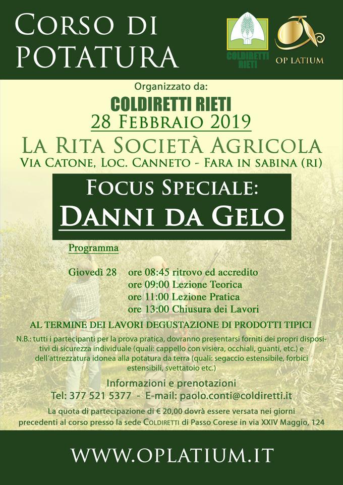 Corso di potatura dell'olivo a Fara in Sabina 28 febbraio 2019. Focus speciale danni da gelo.