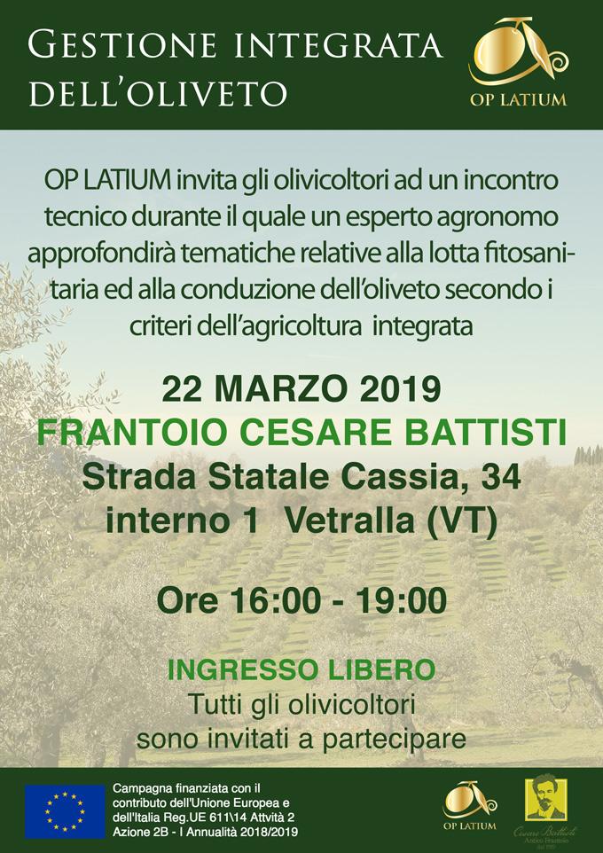 Gestione dell'oliveto in agricoltura integrata. Vetralla (VT), Frantoio Cesare Battisti 22 marzo 2019
