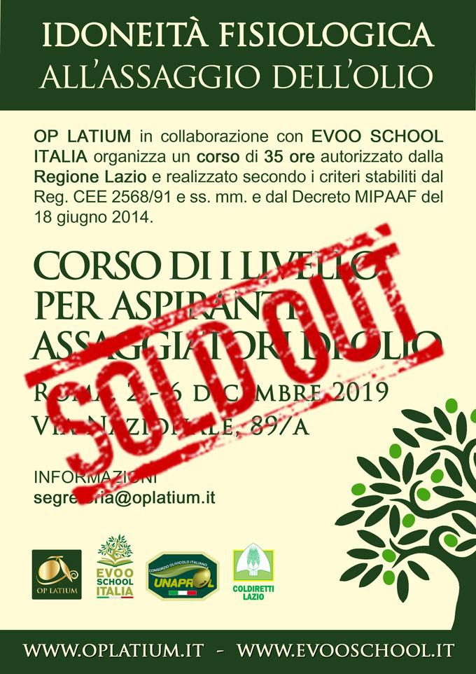 Corso primo livello di assaggio dell'olio autorizzato dalla Regione Lazio, idoneità fisiologica. Dal 2 al 6 dicembre 2019 a Roma