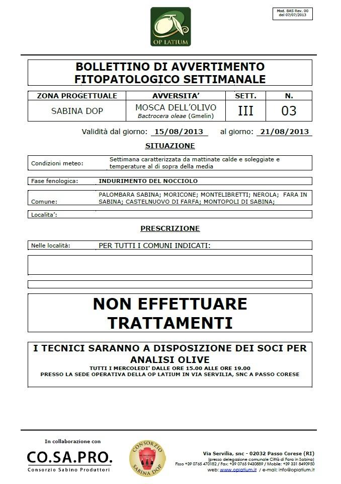 Bollettino di avviso fitopatologico settimanale valido dal 15/08/2013 al 21/08/2013