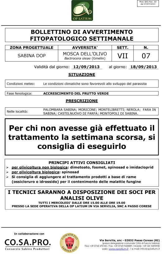 Bollettino di avviso fitopatologico settimanale valido dal giorno 12/09/2013 al giorno 18/09/2013