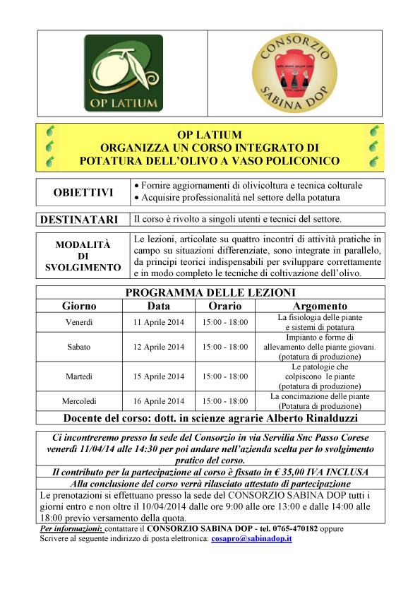Corso integrato di potatura dell'olivo a vaso policonico nei giorni 11/12 e 15/16 aprile