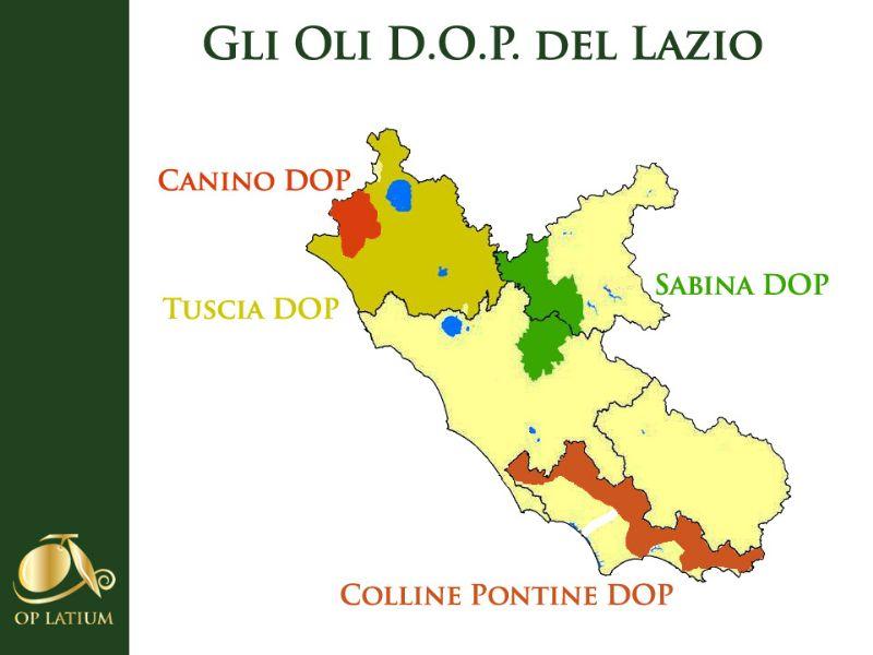 Areali di produzione delle DOP del Lazio