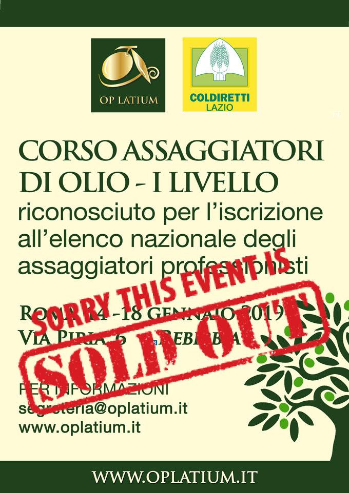 Corso di primo livello per assaggiatore di olio a Roma 2019. Dal 14 al 18 gennaio il prossimo corso riconosciuto per ottenere l'idoneità fisiologica