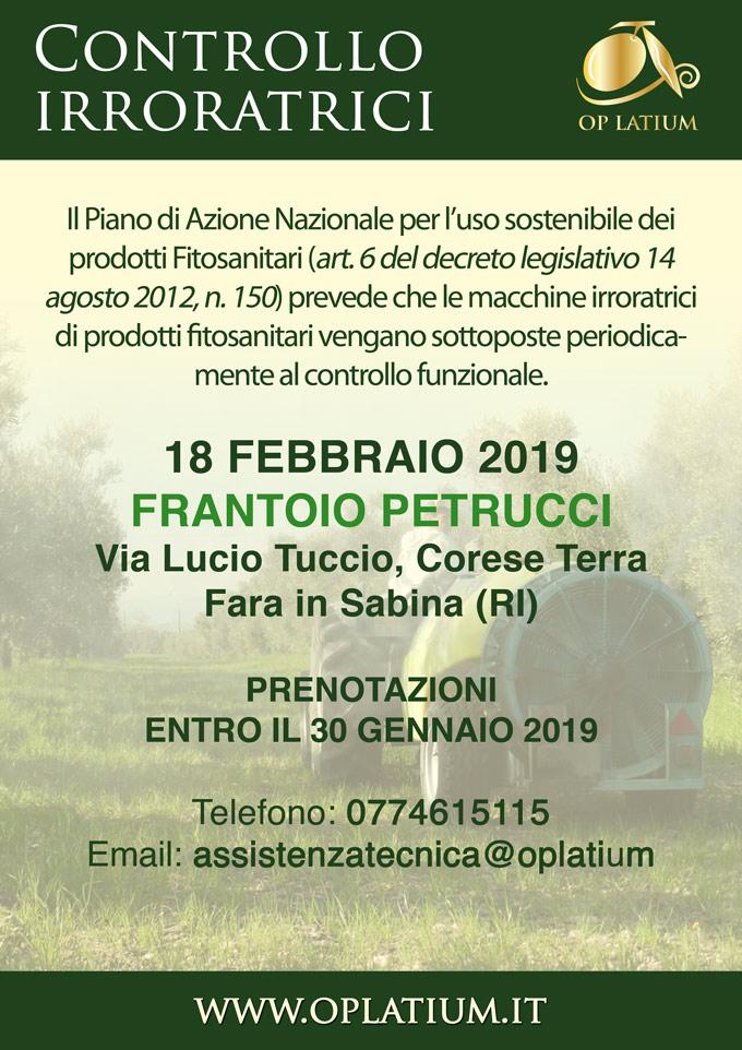 Corese Terra (RI) 18 febbraio 2019: giornata di controllo funzionale delle attrezzature irroratrici di prodotti fitosanitari