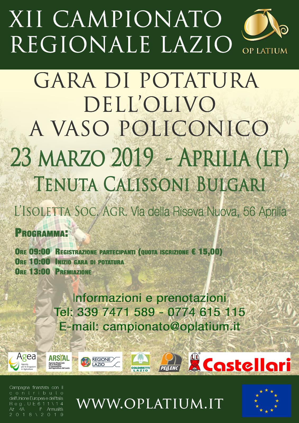 XII Edizione del Campionato Regionale Lazio Gara di Potatura a Vaso Policonico 23 Marzo 2019 Aprilia (LT)