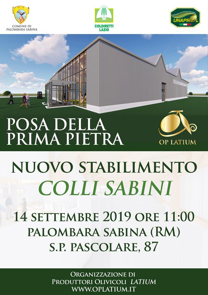 Posa della prima pietra del nuovo stabilimento OP LATIUM Colli Sabini - 14 settembre 2019