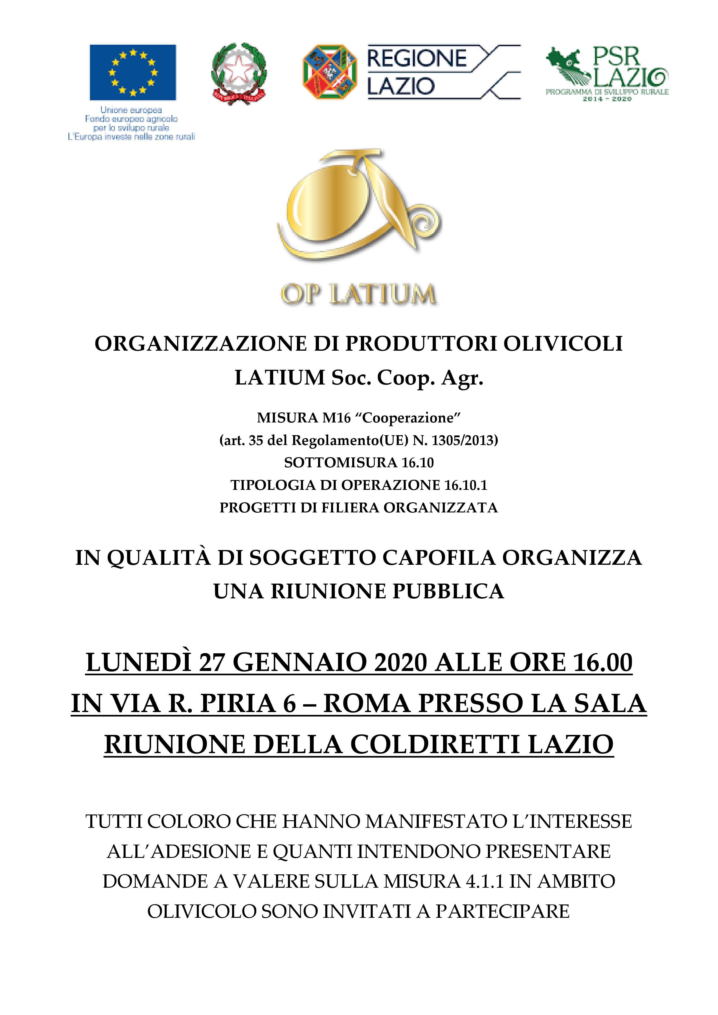 Progetto di Filiera Organizzata OP LATIUM: riunione pubblica lunedì 27 gennaio 2020 ORE 16:00